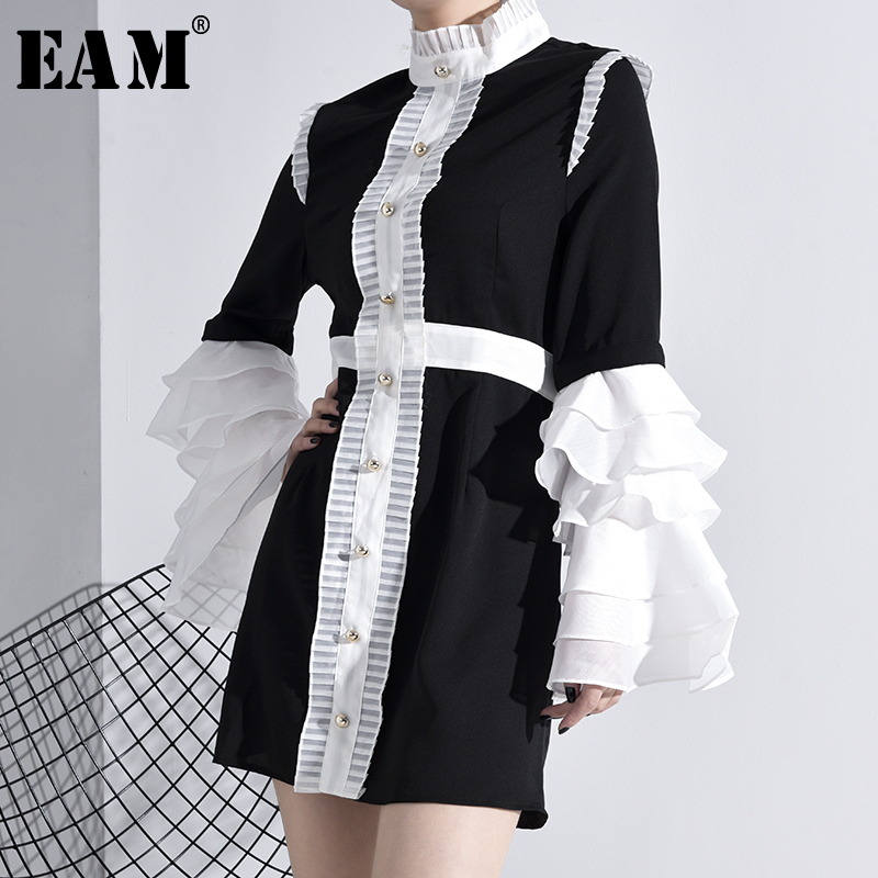 [EAM] Women Contrast Color Ruffles Temperament Dress New Stand Collar Long Sleeve Loose Fit Fashion Spring Autumn 2020 YC00101