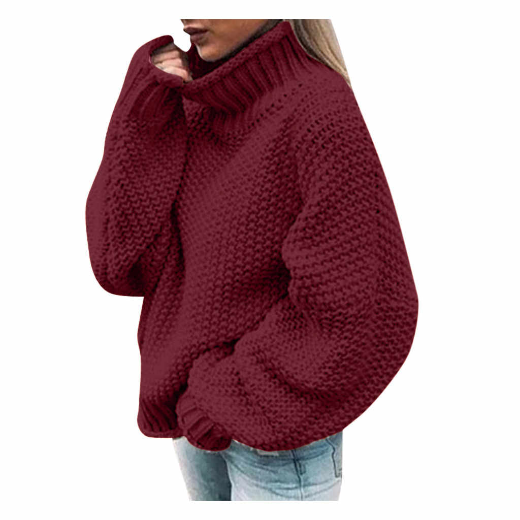 JAYCOSIN Turtleneck Sweater Acrylic Womens Off The Shoulder Soild Winter Sweater Casual Knitted Loose Long Sleeve Pullover