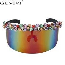 Diamond Oversized Mirror Sunglasses Women Men Luxury Big Frame Coating Visor Mas