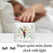 Alarme de voyage analogique, petit réveil silencieux, sans tic-tac, à Quartz, pour la sieste, avec lumière d'horloge, P5A5