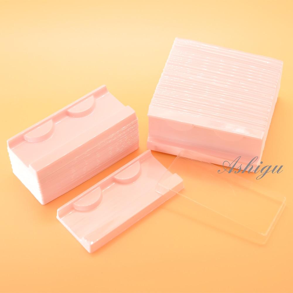 100/pack wholesale 25mm mink lash trays plastic clear eyelash tray holder lids cover eyelashes packaging box lashes case vendors(China)