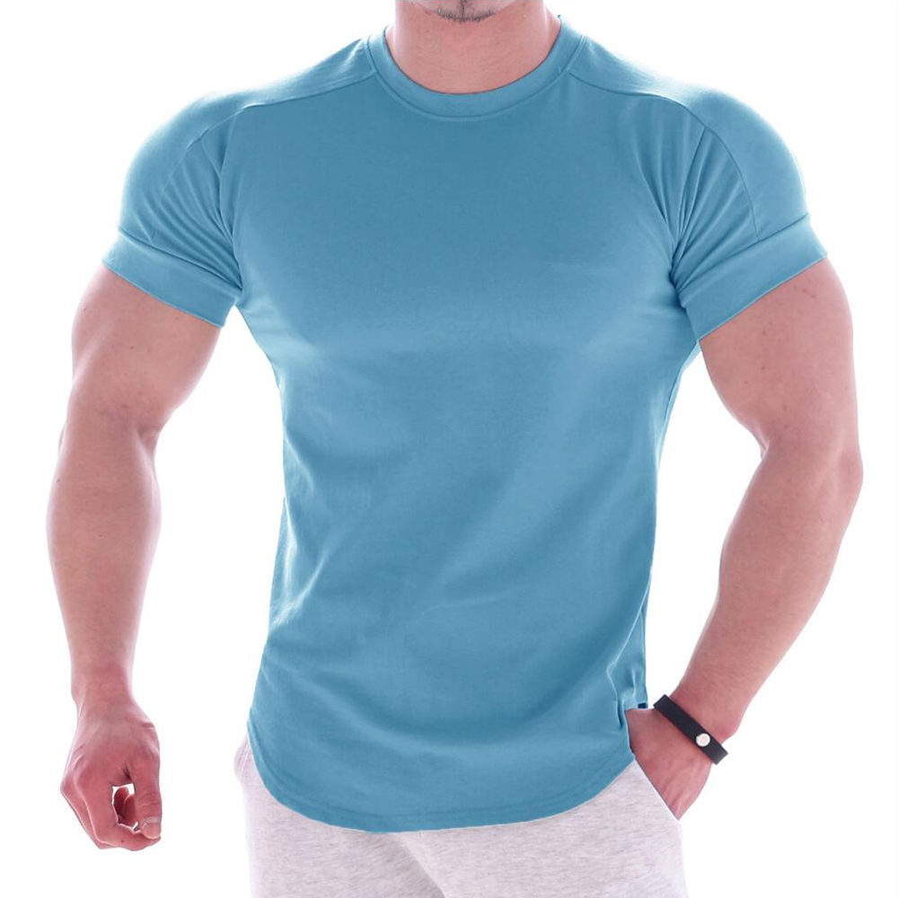 Solid Color Gym T-shirt Mens Running Sports Cotton T Shirt Male Fitness Bodybuilding Jogging Training Tees Tops Summer Clothing