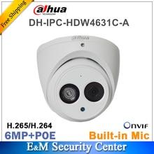 DahuaเดิมIPC HDW4631C Aโลโก้เครือข่ายIPกล้อง 6MP IR POEกล้องวงจรปิดMIC Built in Dome H265 โลหะ