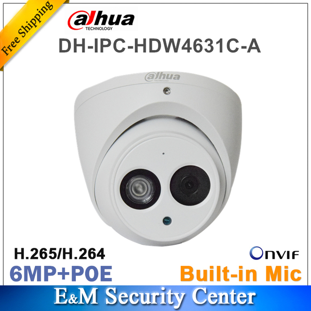 Original dahua IPC HDW4631C A with Logo Network IP Camera 6MP IR POE CCTV Mic Built in dome H265 metal