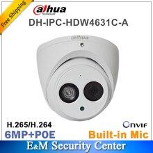 원래 dahua IPC HDW4631C A 로고 네트워크 IP 카메라 6MP IR POE CCTV 마이크 내장 돔 H265 금속