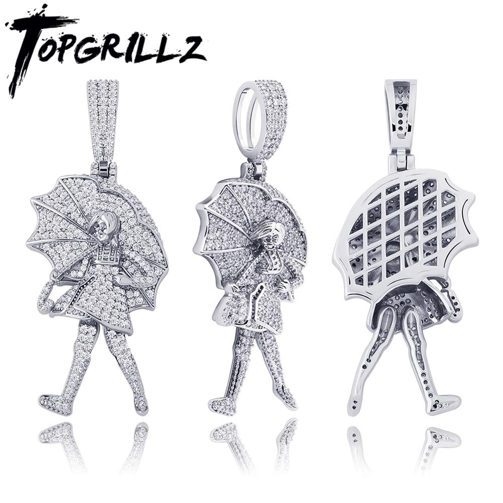 TOPGRILLZ Iced Umbrella Child Pendant Necklace Iced Cubic Zirconia Pendant Necklace Hip Hop Fashion Charm Jewelry Gift For Men