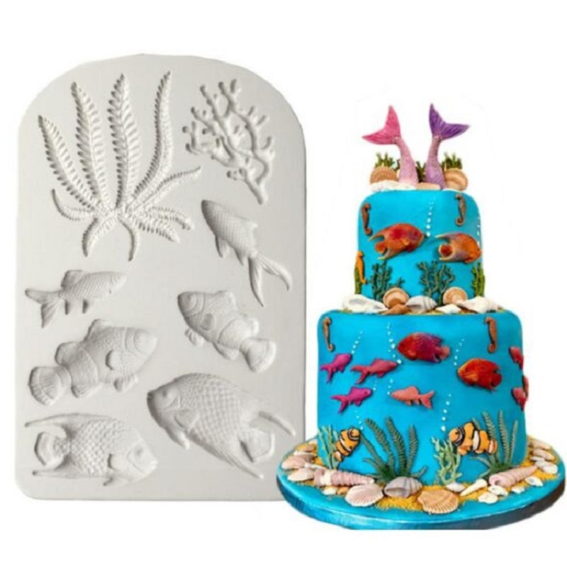 Fish Cake Decoration Tools Sea Creatures Underwater World Fondant Cake Candy Silicone Molds Creative DIY Chocolate Mold image