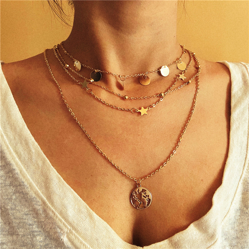 17KM Bohemian Gold Necklaces For Women Multilayer Fashion Pearl Pendants Necklace Portrait Chokers 2020 Trendy New Jewelry Gift