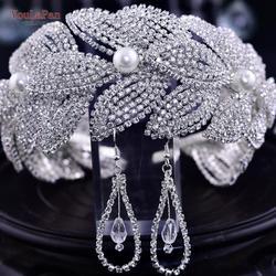 TOPQUEEN HP366 Bridal Hair Accessories Sets Cristal Wedding Headband Rhinestone Bridal Headpieces Bridal Tiaras and Crowns