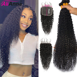 6x6 Closure And Bundles Curly Bundles With Closure AliAnna Malaysian 30 Inch Bundles With Closure Remy 7x7 Closure With Bundles(China)