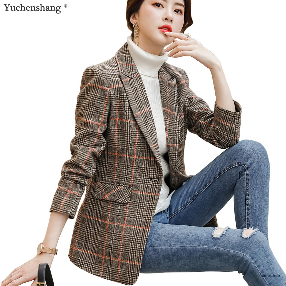High-quality Plaid Women Blazer With Pockets England Style Single Button Jacket Fashion Outwear Loose Coat