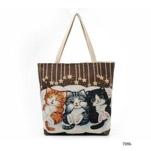 Женская сумка с вышитым котом тотем, милая очаровательная сумка через плечо с котом для домашних животных, женская сумка