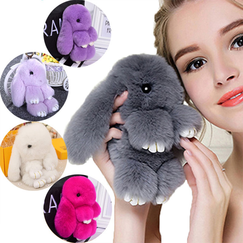 Cute Plush Bunny Keychain Women Fur Pom Pom Angel Rabbit Key Ring Hare Pompom Plush Dolls Toy Girls Bag Car Key Pendant 13cm