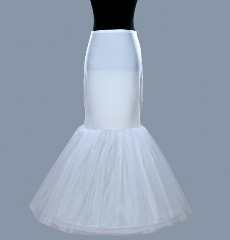 Bridal Underskirt 1 Hoops Tulle Petticoat White Sexy Mermaid Pettycoat Stock Cancan Para Vestido Wholesale Enagua