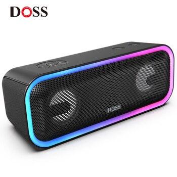 DOSS SoundBox Pro+ TWS Wireless Bluetooth Speaker 24W Impressive Sound with Deep Bass Mixed Colors Lights True Stereo Sound