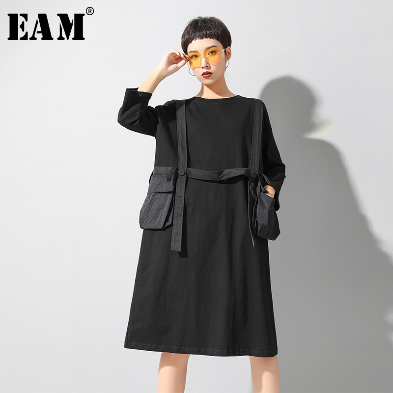 [EAM] Women Black Big Pocket Split Big Size Dress New Round Neck Half Sleeve Loose Fit Fashion Tide Spring Summer 2020 1U143