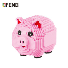 цена на Balody 16117 Pink Pig Diamond Building Blocks Piggy Bank Money Box 3D Model 1030pcs DIY  Mini Figure Bricks Assembly Toy