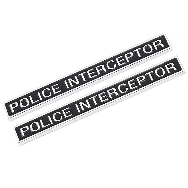 carkeyshop 1x 3D Metal Police Interceptor Emblem Allloy Badge Sticker Replacement for Police Interceptor Chrome Black