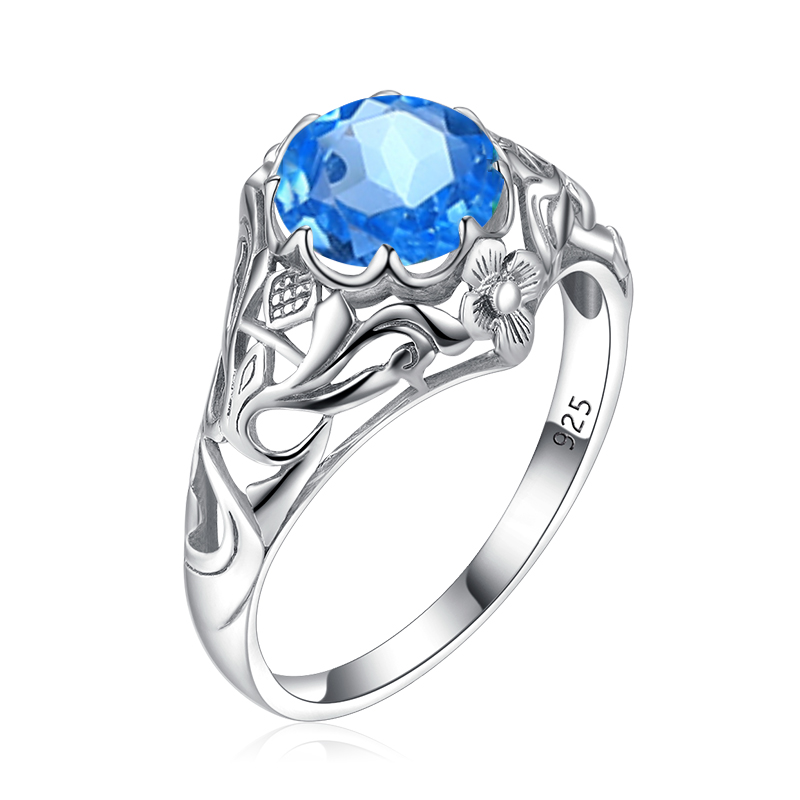 Blue Topaz Ring For Women Gemstone 925 Sterling Silver Rings Prong Setting Vintage Fine Jewerly Famous Brand Anillos Recommend