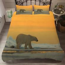 MEI Dream Polar Bear  3d Bedding Set Comforter Sets Sunset View Duvet Cover Animal Printed Bedclothes