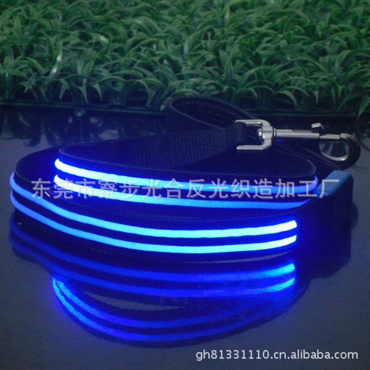 Pet Supplies LED Shining Traction Belt Ultra-strength Tension Dual Fiber Dog Traction Rope Chain
