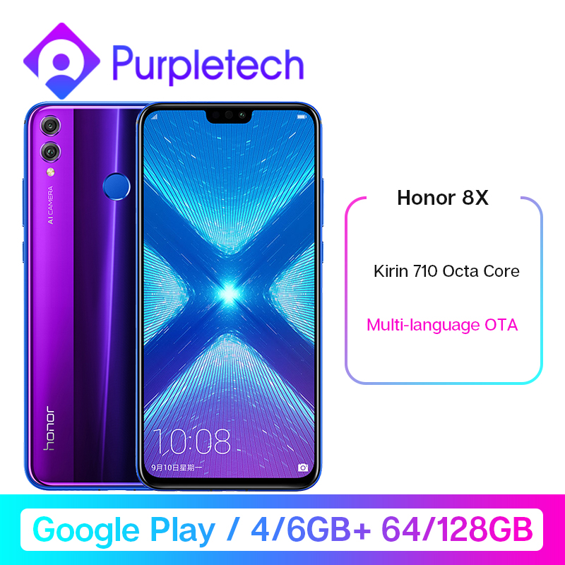Google Play <font><b>Honor</b></font> <font><b>8X</b></font> 8 X Smartphone Global Rom 4GRAM 64G/128G Kirin 710 Octa Core 6.5'' 20MP Dual Rear Cam Mobile Phone Android image