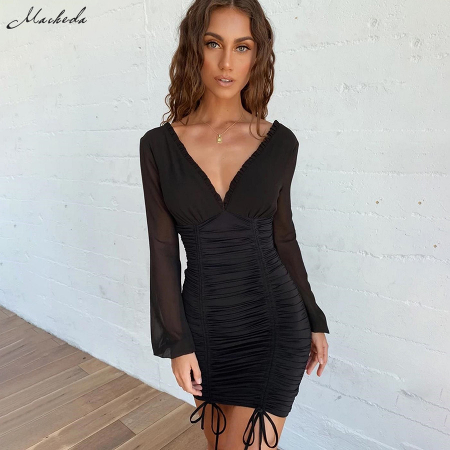 Macheda Solid Sexy Party Dresses Women Mesh Long Sleeve V Neck Slim Spliced Drawstring Ruched Bodycon Elastic Lady Casual Dress in Dresses from Women 39 s Clothing