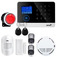 Wireless SIM GSM Home RFID Burglar Security LCD Touch Keyboard WIFI GSM Alarm System Sensor kit English Russian Spanish Voice Alarm System Kits    -