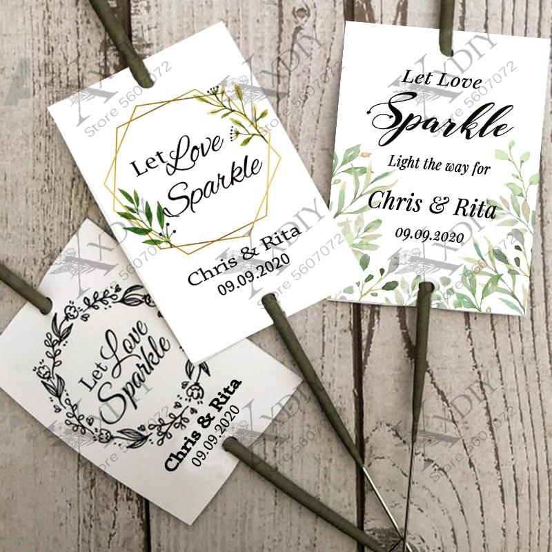 XX DIY- 100 шт. ярлыки блестящие/блестящие палочки Персонализированные Свадебные фейерверки Let Love Sparkle