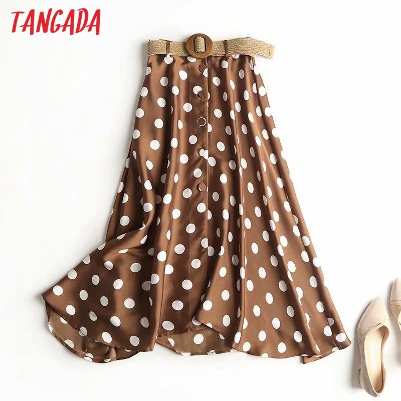 Tangada Women Dots Pleated Midi Skirt With Belt Vintage Side Zipper Office Ladies Elegant Chic Mid Calf Skirts 4C10