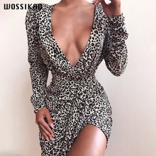 Бандажное платье Осеннее сексуальное с леопардовым принтом глубоким