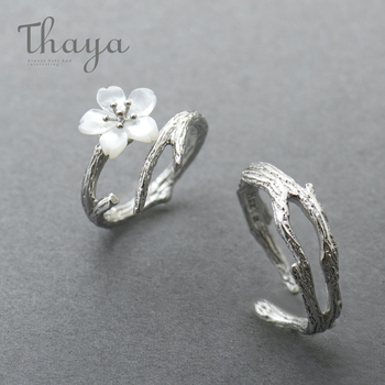 Thaya White Cherry Blossom Silver Ring s925 Silver Natural Pearl Shell Flower Branch Rings for Women Elegant Ladies Jewelry