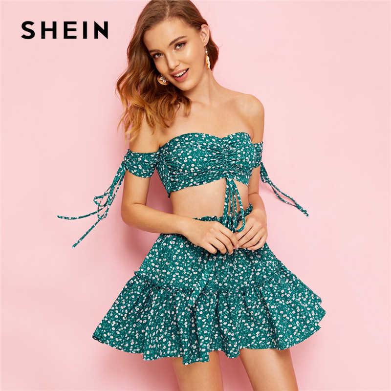 SHEIN 自由奔放に生きるシャーリングフロントシャーリングクロップトップと頭が変な花スカートセット女性ツーピースの衣装夏セクシーなビーチマッチングセット