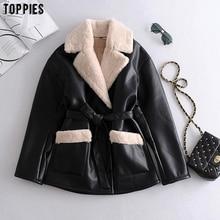 Toppies Winter Faux Fur Jacket Coat Women Black Faux Leather