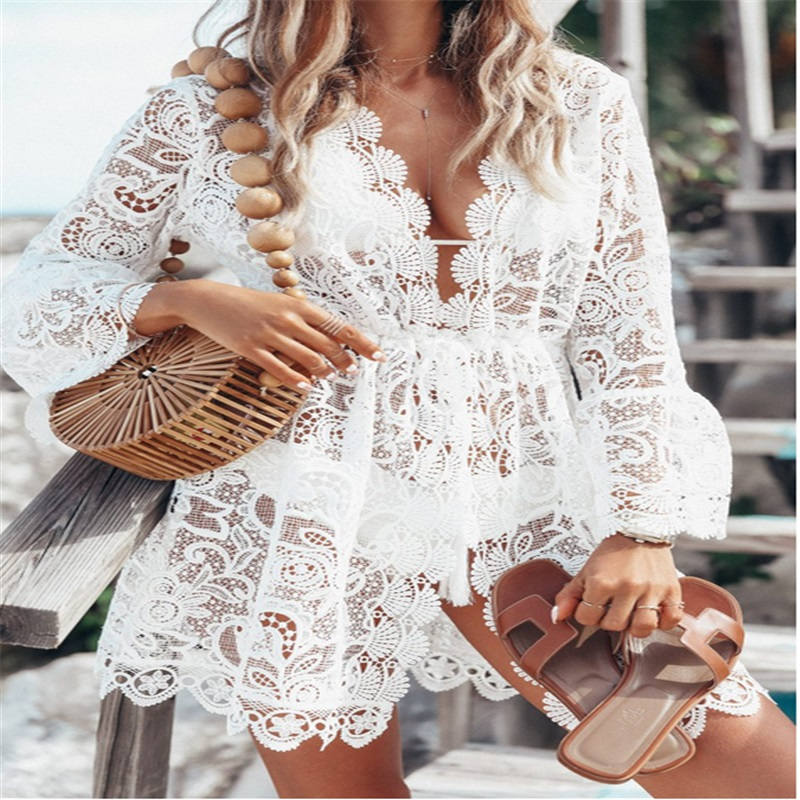 Women Summer Bohemian Bikini Mini Crochet Swimwear Knit Beach Bathing Suit Floral Lace Cover Up Dress Top Beachwear