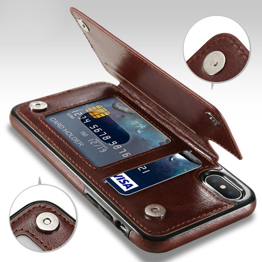 Custodia in pelle Premium Slim Fit di lusso per iPhone 11 12 mini Pro XR XS Max X 6 6s 7 8 Plus portafoglio porta carte di credito custodia antiurto 2
