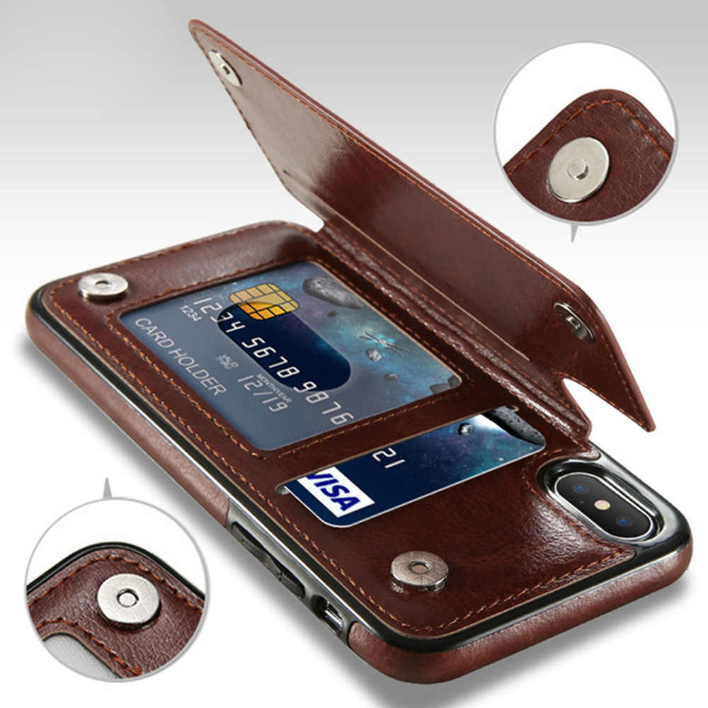 Luxe Slim Fit Premium Leather Cover Voor Iphone 11 Pro Xr Xs Max 6 6S 7 8 Plus 5S Wallet Case Card Slots Shockproof Flip Shell