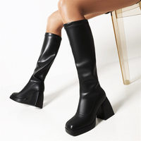 2021 Brand New Great Quality Red Black Platform High Heels Women Shoes Fashion Trendy Modern Chunky Boots Footwear Big Size 43 1