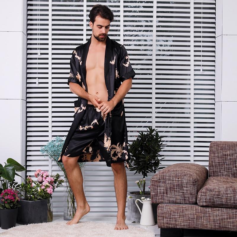 Plus Size 3xl 4xl 5xl Sleepwear Satin Men Nightgown 2pcs Robe Suit Summer Short Sleeve Kimono Gown Bath Gown Intimate Lingerie