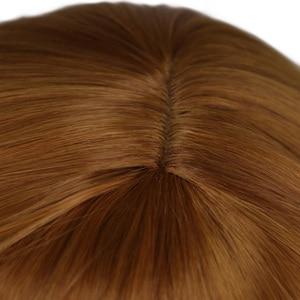 Image 4 - QQXCAIW kadınlar uzun kahverengi prenses örgü Cosplay peruk Anna parti kostüm kız yüksek sıcaklık Fiber sentetik saç peruk