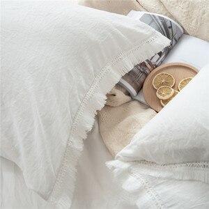 Image 3 - 2/3 Pz/set Bianco Con Frange Nappa Duvet Cover Set Poliestere Trapunte Formati NESSUN FOGLIO di Set di Biancheria Da Letto DEGLI STATI UNITI UE