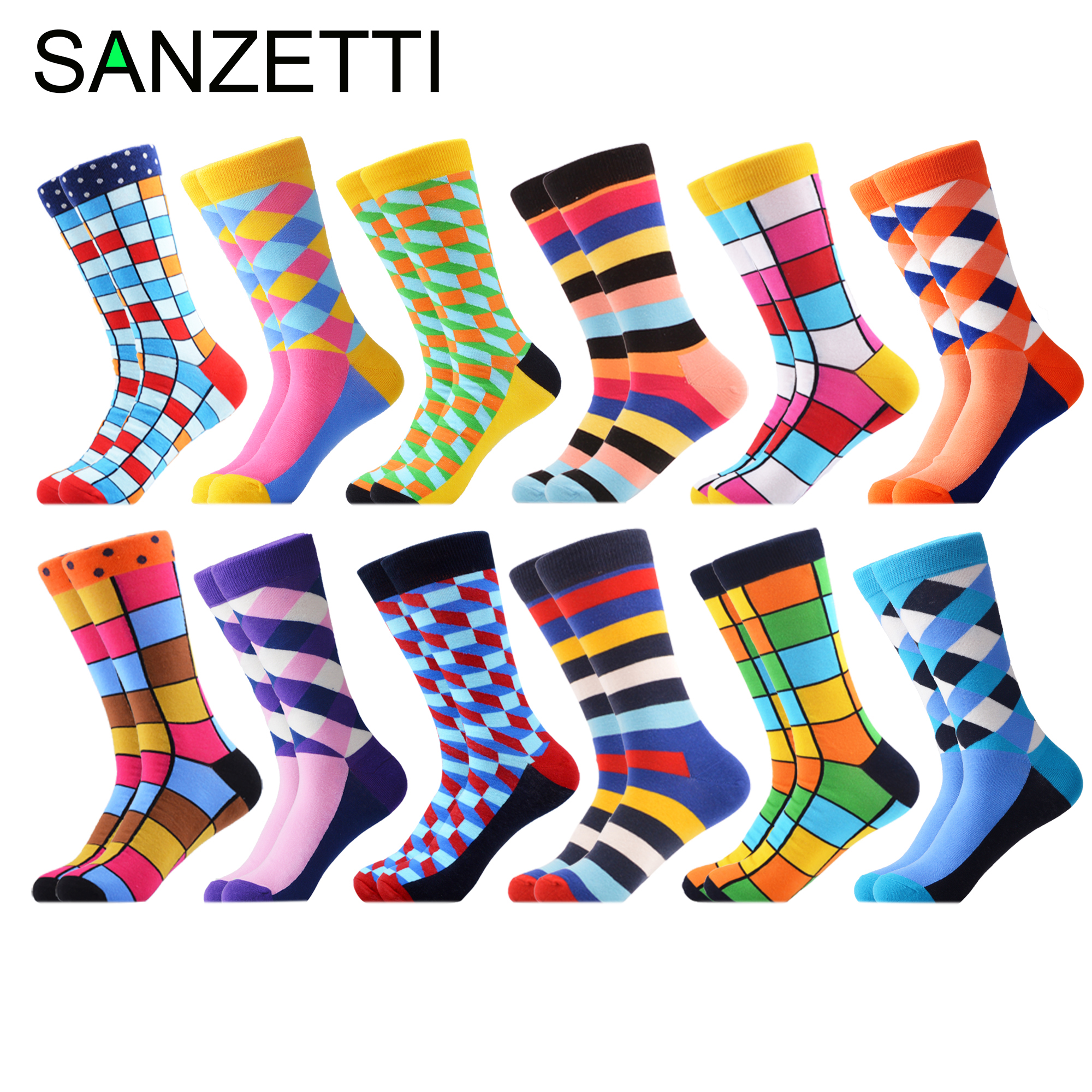 SANZETTI Men's Funny Combed Cotton Crew Socks Colorful Grid Multi Comfy Dress Casual Sock Happy Winter Novelty Party Gifts Socks