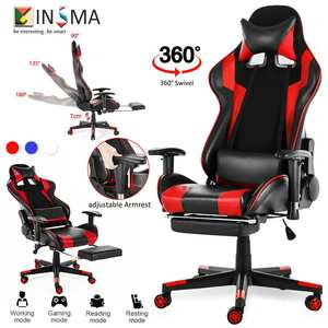 Wcg Office Gaming Chair Reclining Gaming Chair Swivel PU Leather Office Chair Armchair with Footrest for Home Office Furniture