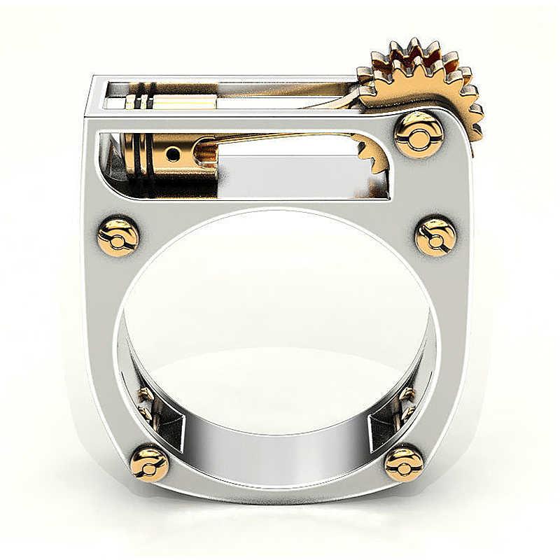 אופנה מכאני הילוך גלגל גברים טבעת כסף צבע פאנק נישואים אצבע טבעות לנשים מודרני חתונה תכשיטים