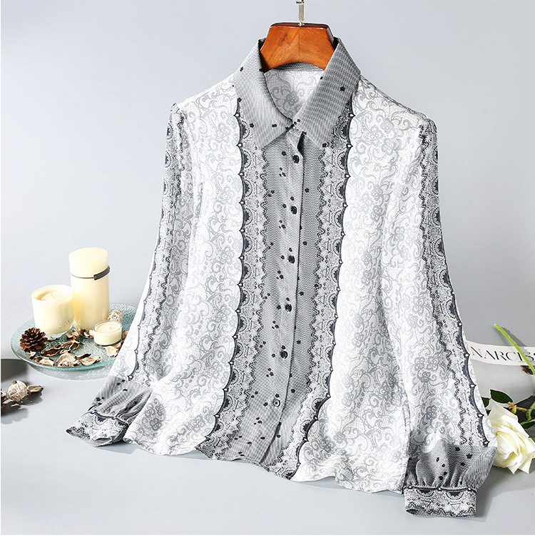 New European and American women's dresses for spring 2020  Long sleeve lapel  Fashionable printed silk shirt