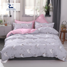 Liv-Esthete New lovely Cat Gray Bedding Set Soft Printed Duvet Cover Pillowcase Queen King Bed Linen Bedspread Flat Sheet