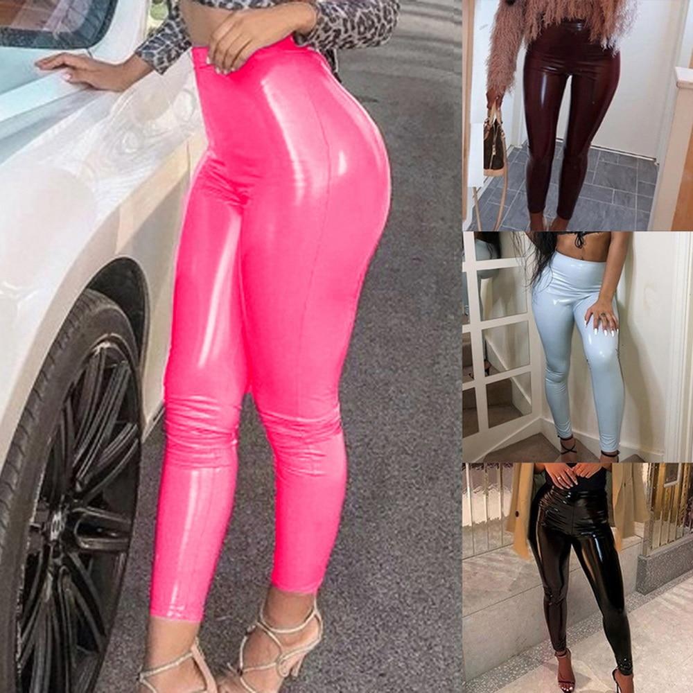 Damen Womens PU Leder Leggings mit hoher Taille Stretchhose Slim Skinny