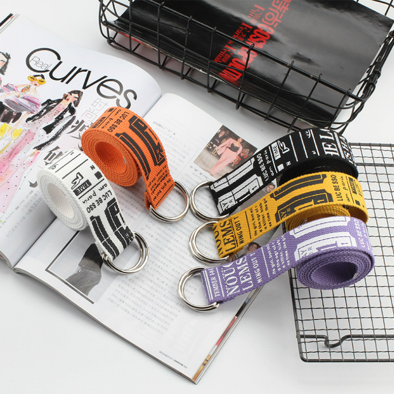 Canvas Belt Korean Version Fashion Lengthen Canvas Belt Literary Style Unisex Student Belt Trend D Ring Double Buckle Belts