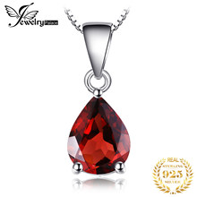 Natural Garnet Pendant Necklace 925 Sterling Silver Gemstones Choker Statement Necklace Women silver 925 Jewelry Without Chain(China)