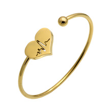 Fashion Love Heart Women Cuff Bracelets Bangles for Women Gold Color Electrocardiogram Stainless Steel Bracelet Jewelry charming solid color heart cuff bracelet for women